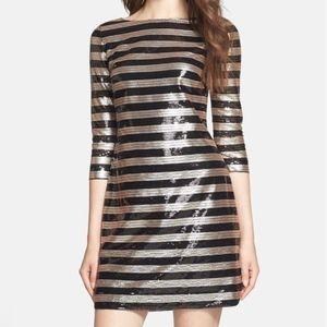 *Gorgeous* Vince Cameo Stripe Sequin Shift Dress